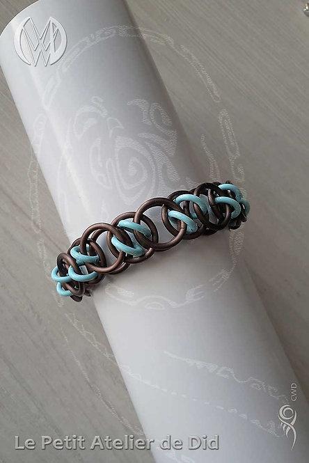 Bracelet « Chaine d'anneaux » Bleu Pastel et Chocolat