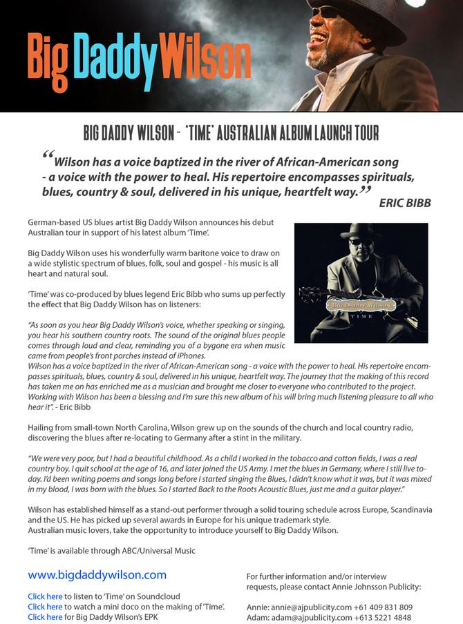 BIG DADDY WILSON - 'TIME' AUSTRALIAN ALBUM LAUNCH TOUR