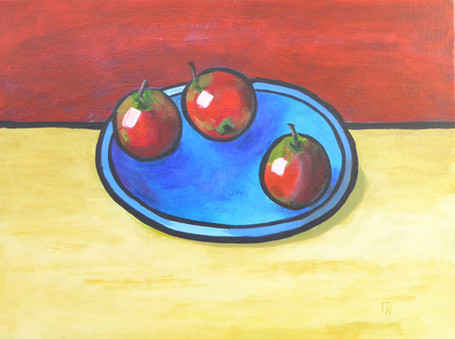 Blue Plate and Three Apples