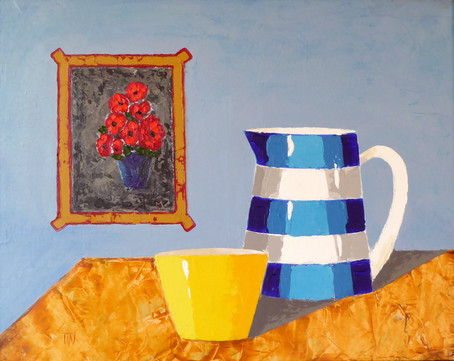 Cornishware and Red Flowers