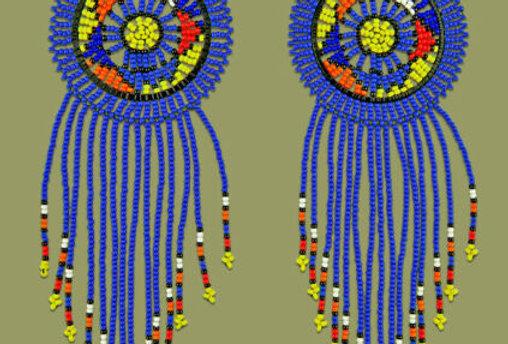 Beautiful Hand Made African Zulu Large Circle Tassel Earrings Blue