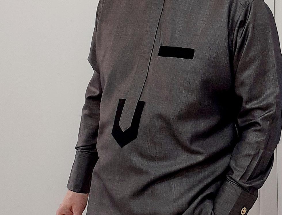Mens Nigerian African Senator Suit Grey Size L