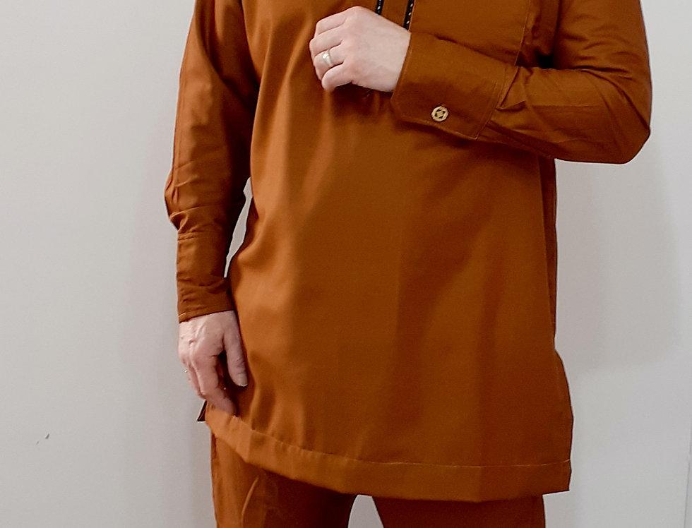 Mens Nigerian African Senator Suit Tan Size L