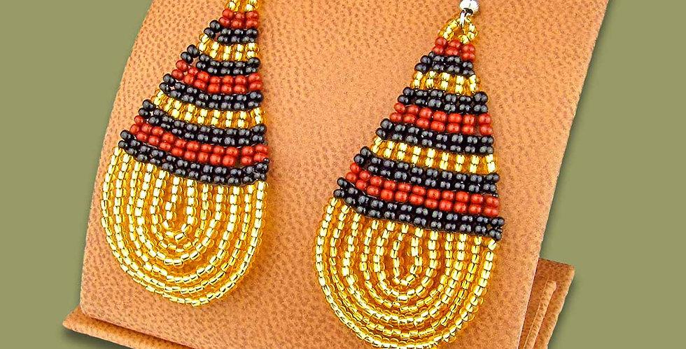 Beautiful Hand Made Large GOLD,BLACK AND BROWN Beaded Teardrop Earrings Zulu