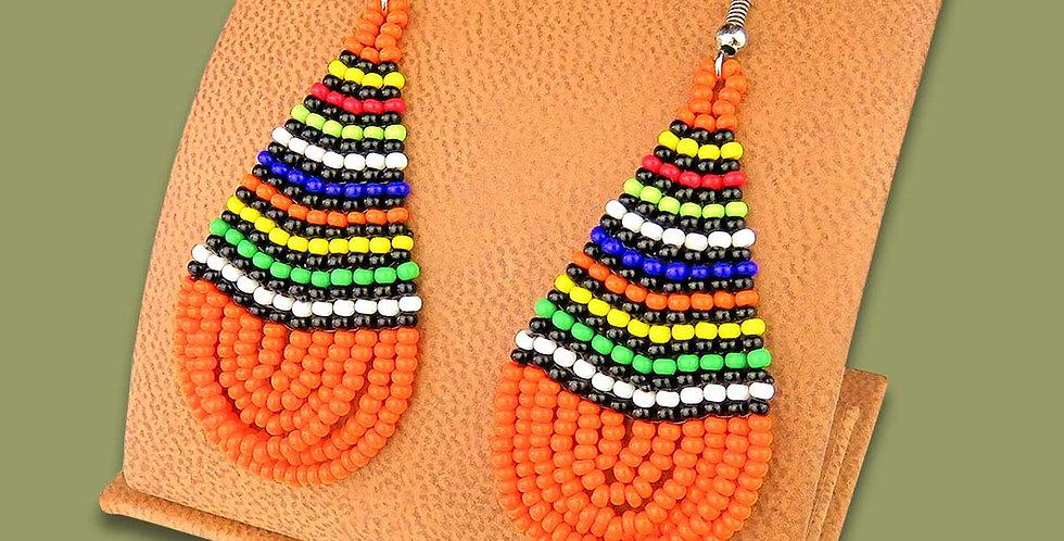 Beautiful Hand Made Large ORANGE & AFRICAN COLOR Beaded Teardrop Earrings Zulu