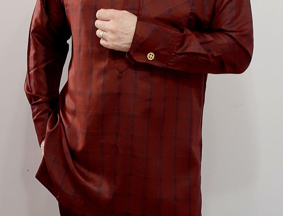 Mens Nigerian African Senator Suit Burgundy Size L