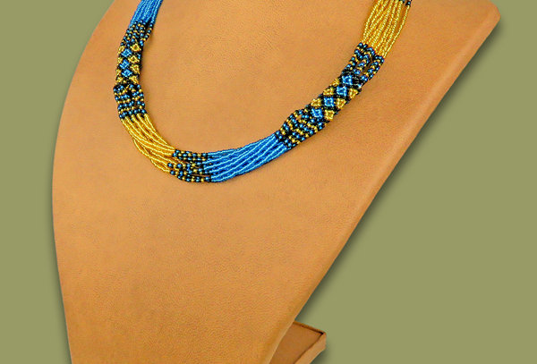 ZULU African Beaded Necklaces - Mvovo Medium length Handmade in South Africa.