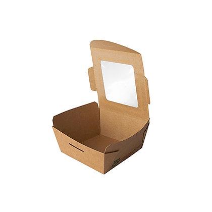 """480 Φαγητοδοχεία με παράθυρο, PLA """"pure"""" 350ml 4,5cmx9cmx9cm 0,263€/Τεμάχιο"""