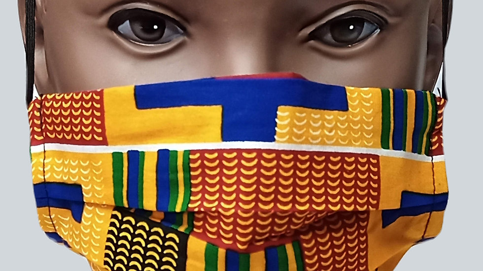 Orange & Blue  Kente Face Covering