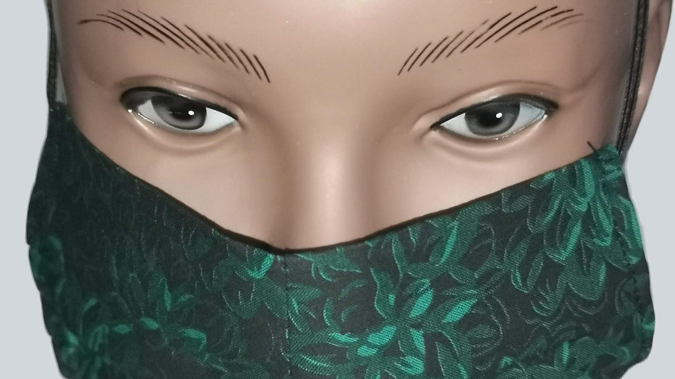 Green Floral Face Covering
