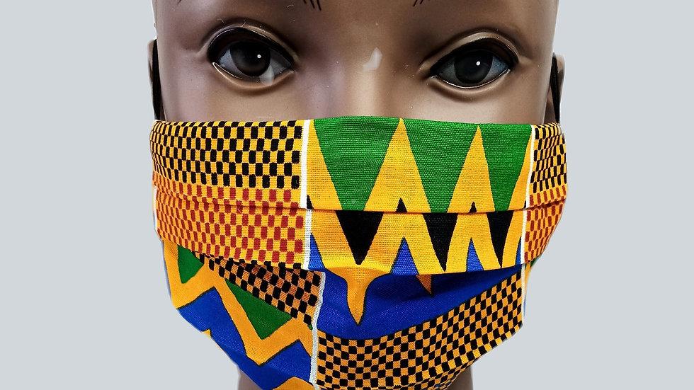 Blue & Green Kente Face Covering
