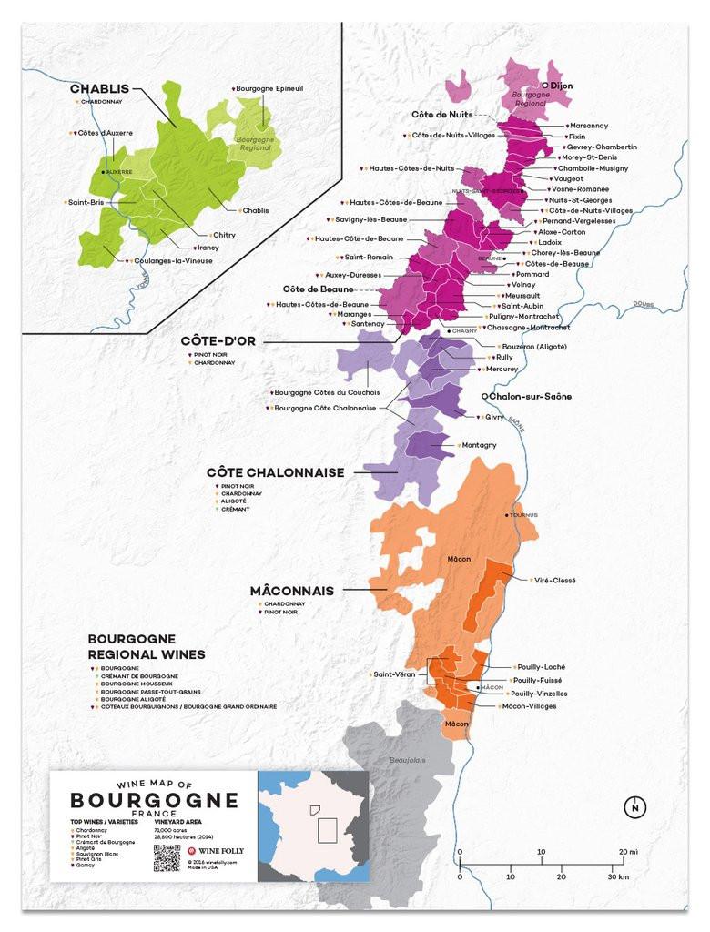 Burgundy wine regions