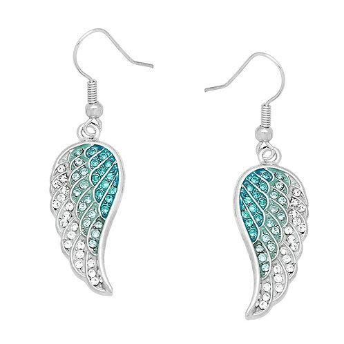 Angel Wing Earrings-Aqua