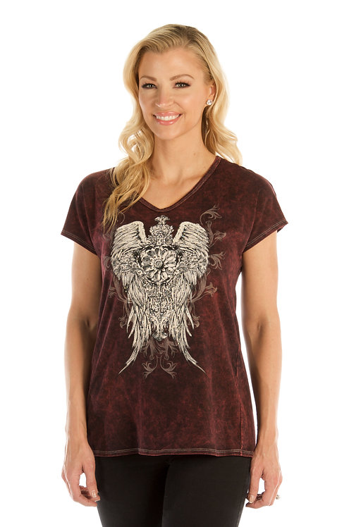 Relaxed V-neck with Ornate Wings
