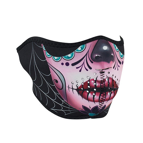 Half Mask Neoprene Reversible Sugar Skull To Purple