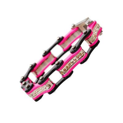 BLACK/PINK W/WHITE CRYSTAL CENTERS Chain Bracelet