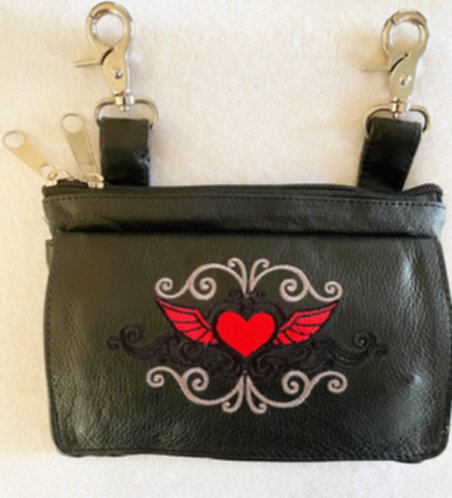 Clip Purse Heart Wings Red