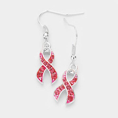 Crystal Pink Ribbon Dangle Earrings