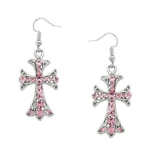 Cross Earrings-Pink