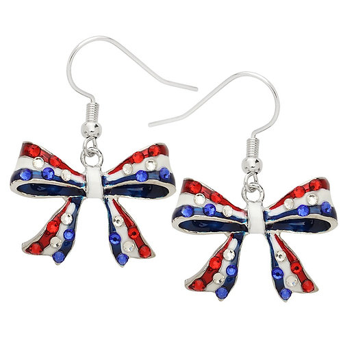 Red White & Blue Bowknot Earrings