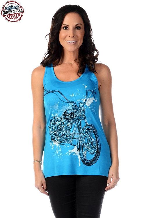Splatter Biker Tank Top-Turquoise