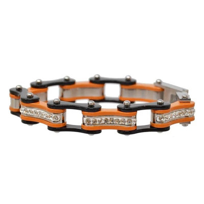 BLACK/ORANGE W/BLUE CRYSTAL CENTERS Chain Bracelet