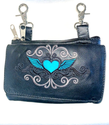 Clip Purse Heart Wings Teal