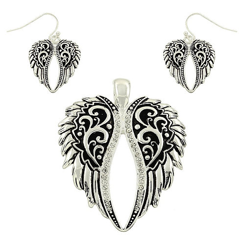Angel Wing Pendant & Earrings Set