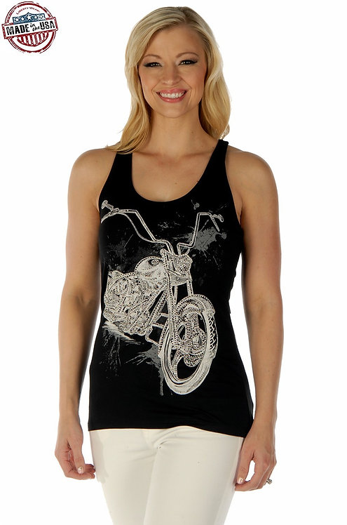 Splatter Biker Tank Top-Black