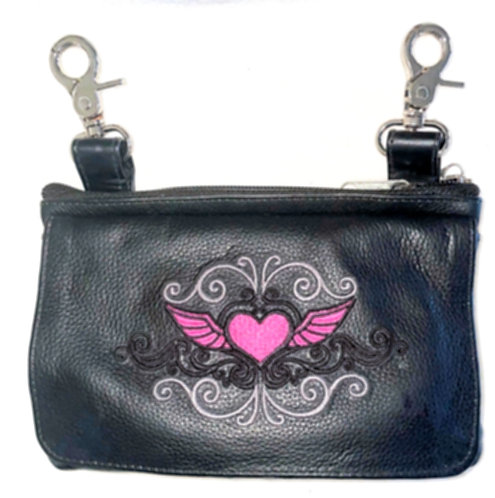 Clip Purse Heart Wings Pink