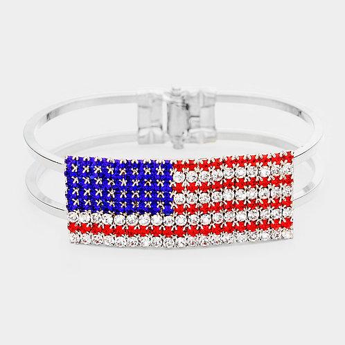CRYSTAL PAVE AMERICAN FLAG HINGED BRACELET