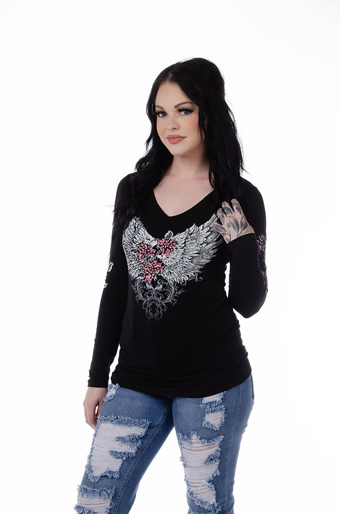 Barbed Wire & Roses Long Sleeve