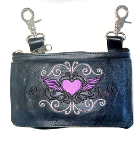 Clip Purse Heart Wings Purple