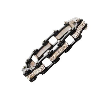 BLACK/BLACK W/WHITE CRYSTAL CENTERS Chain Bracelet
