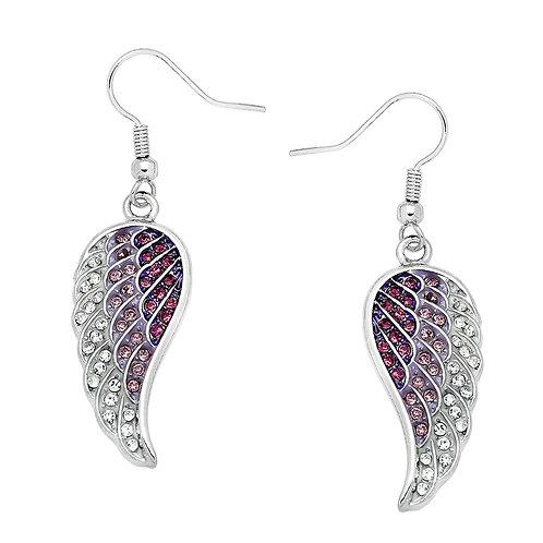 Angel Wing Earrings-Purple