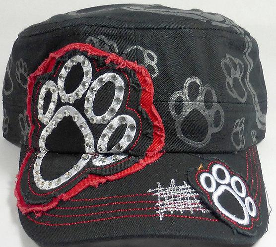 Bling Paw Print Cadet Hat Red/Black