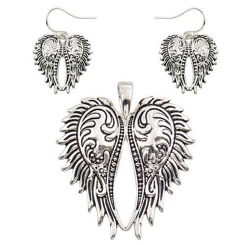 Angel Wing Pendant & Earrings