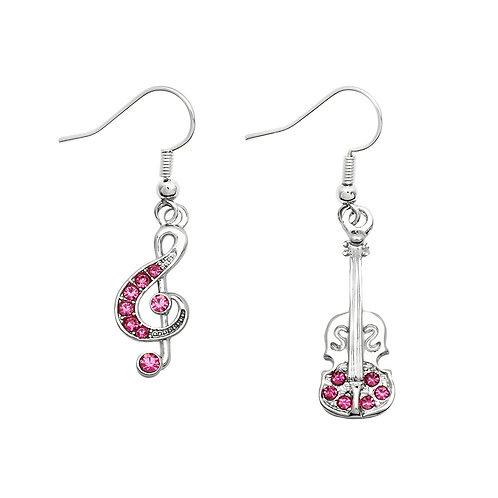 Pink Music Theme Earrings