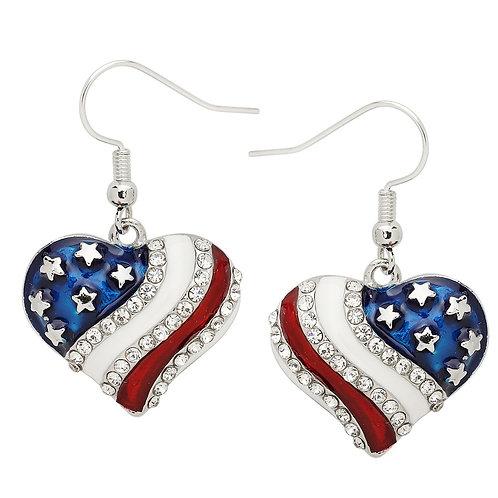 USA Heart Earrings