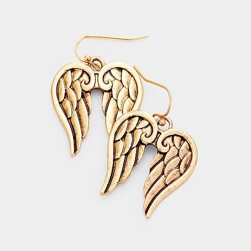 METAL ANGEL WING TEXTURED DANGLE EARRINGS