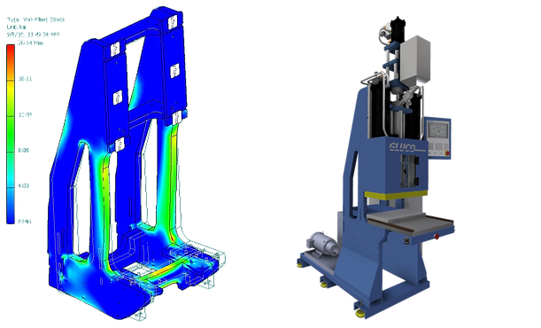 E3 Integrated Engineering - Machine Design - FINITE ELEMENT ANALYSIS FEA OF GLUCO VERTICAL INJECTION MOLDING PRESS WITH SHUTTLE TABLE