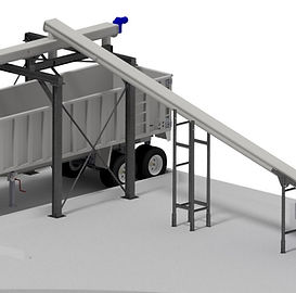 TSC Shaftless Screw Conveyor shown with Conveyor stands and dump truck Bridge