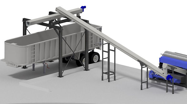 shaftless conveyor system transfer material from machine to truckbed