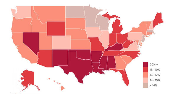 Projected rates of food insecurity in 2020. (Feeding America)