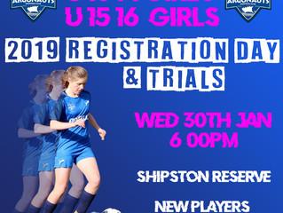 GIRLS U13/14'S & U15/16'S - REGISTRATION & TRIAL DAY
