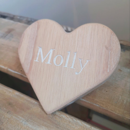 Whitewashed Personalised Heart Baby Hanger