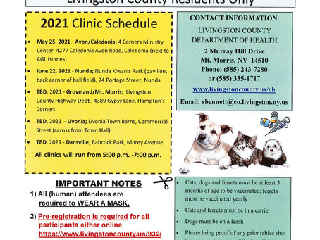 Free Rabies Clinics for Livingston County Residents