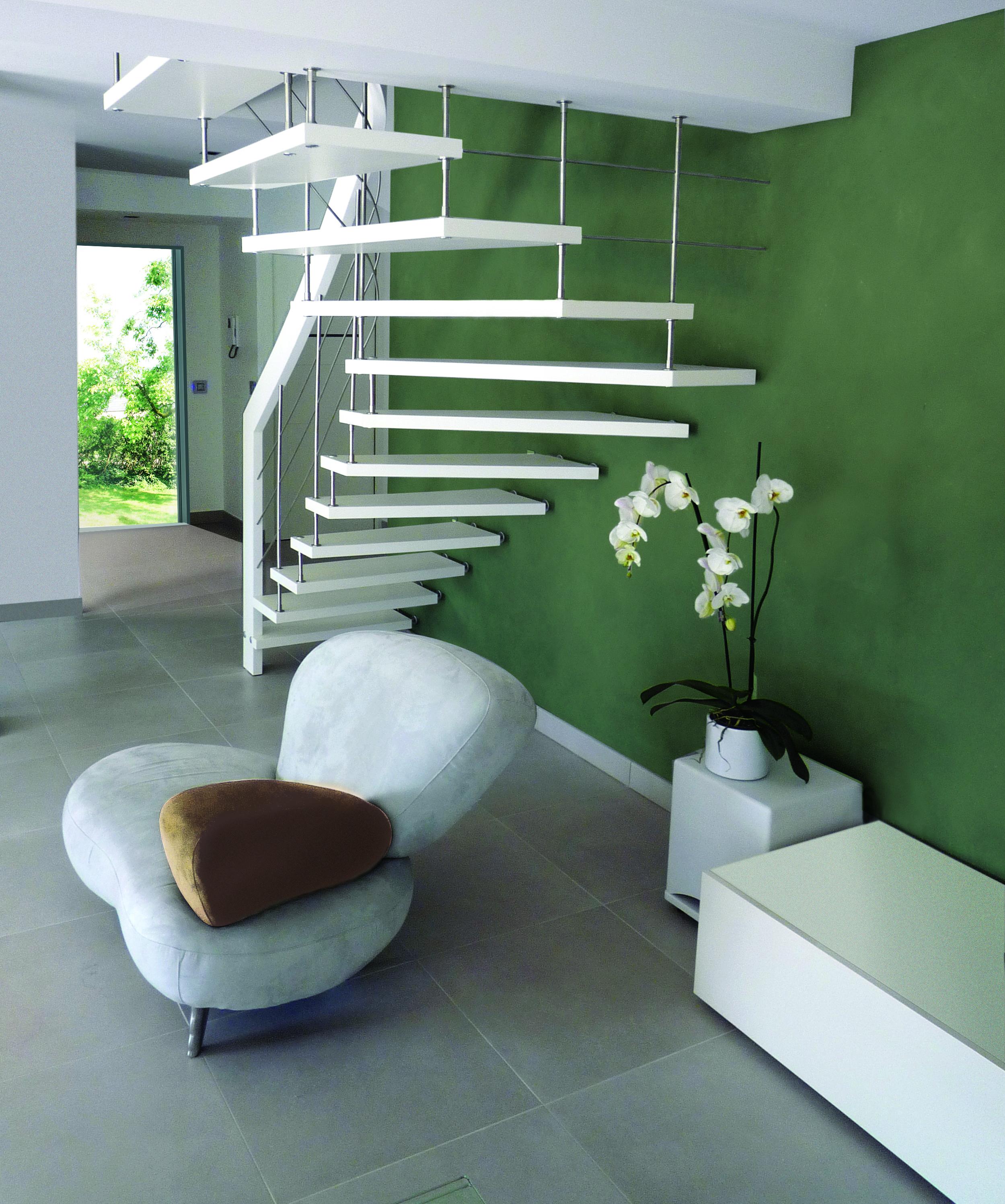 Escalier Nova laqué blanc
