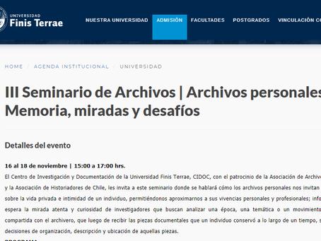 III Seminario de Archivos | Archivos personales: Memoria, miradas y desafíos