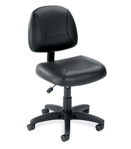 Black Leather Armless Deluxe Posture Chair with Black Frame by OfficeSource